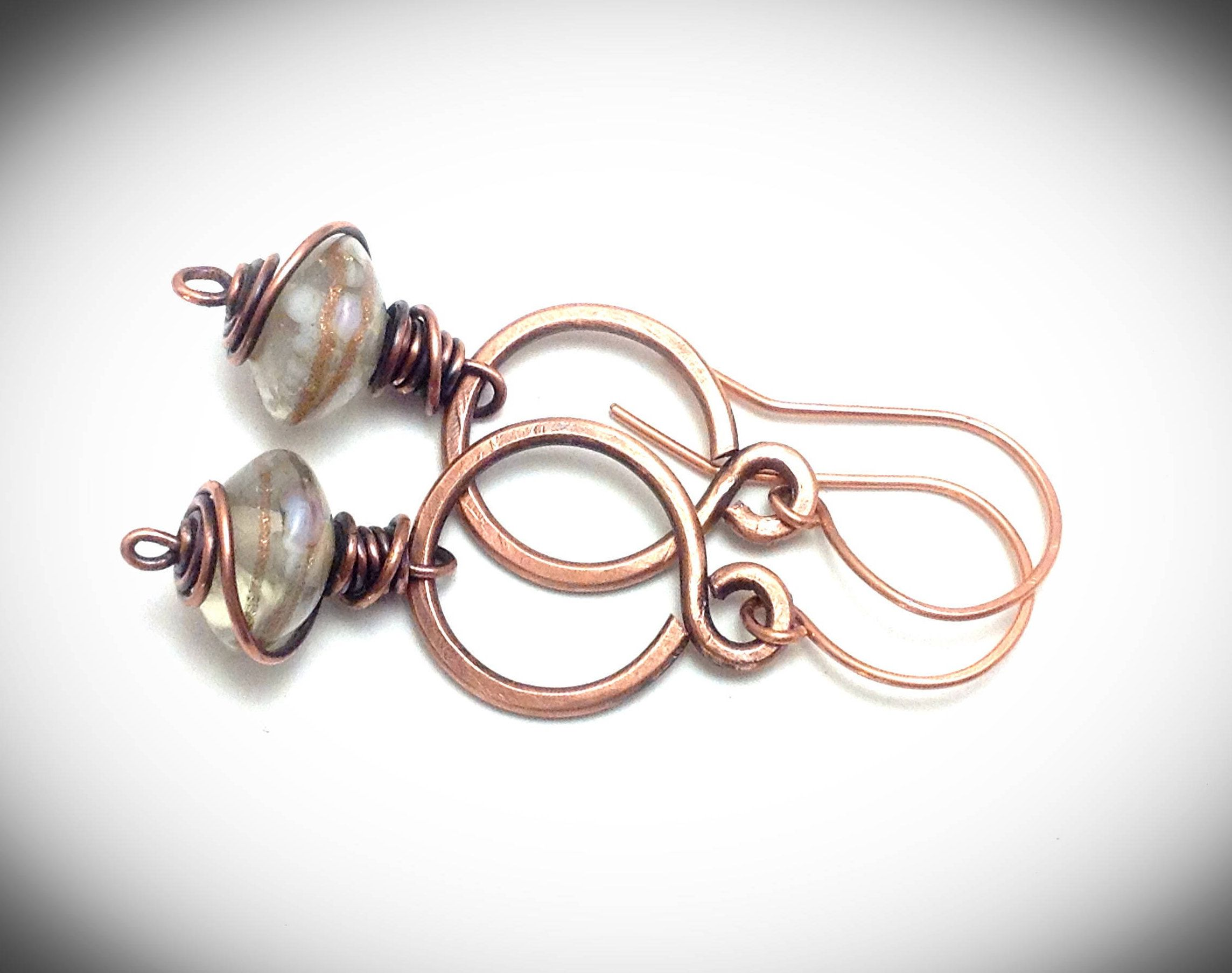 Wire wrapped jewelry. Copper jewelry. Handcrafted earrings. Copper ...