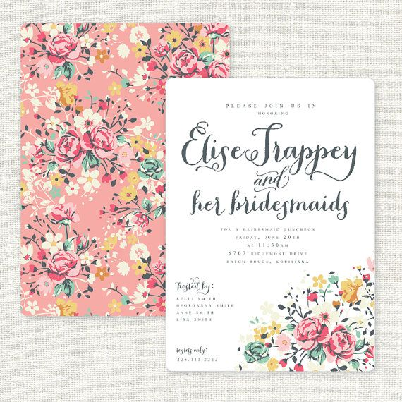 Floral Bridesmaids Brunch Invitation Set Of 10 By Msprintbymarisa