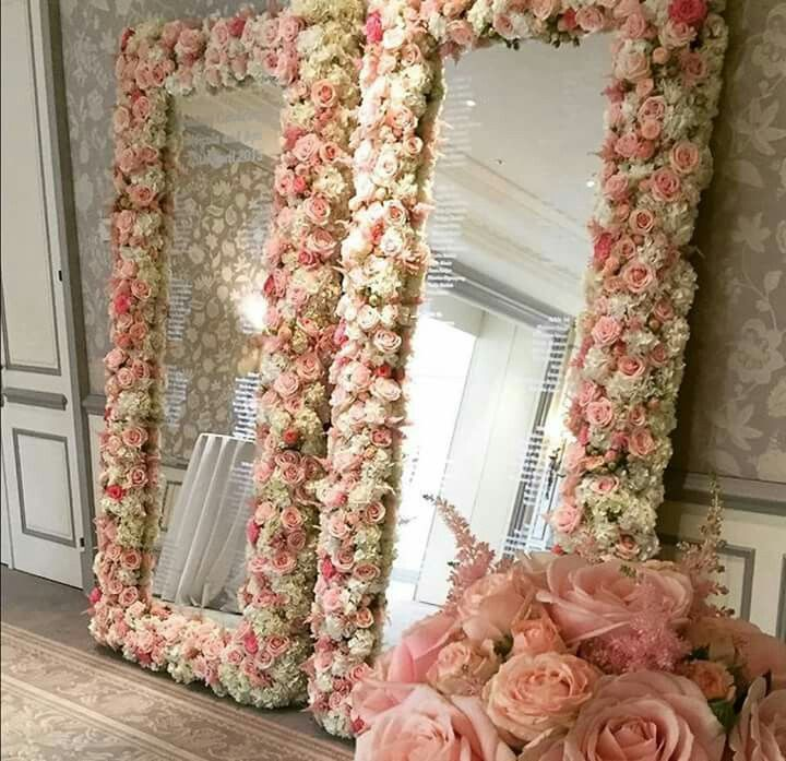 Frivolous Fabulous Beautiful Rose Cluster Mirror Decor By Http Www Wildabout Co Uk Makeup Room Diy Flower Mirror Room Diy