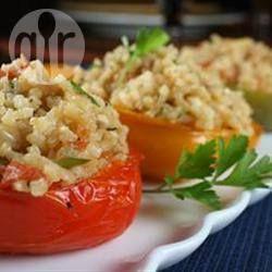Vegetarisch Gefüllte Paprika Mit Reis Und Feta Rezept Köstlichkeiten