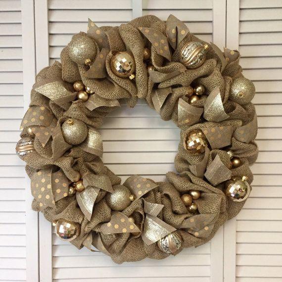 Gold Christmas Wreath, Burlap Christmas Wreath, Polka Dot Wreath, Gold Xmas Wreath, Christmas Door Decor, Gold Wreath