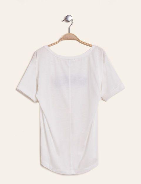 tee-shirt motif brodé écru