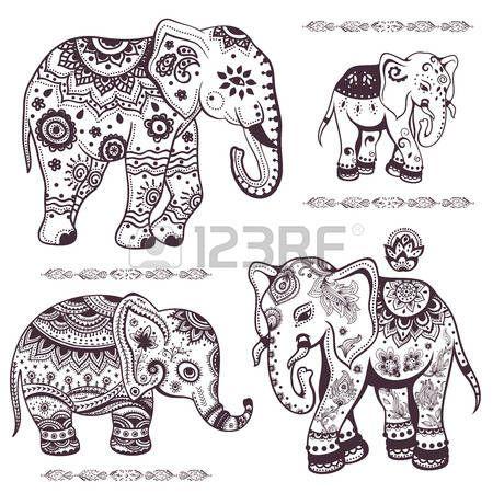 Set von Hand gezeichneten isolierten ethnischen Elefanten ...