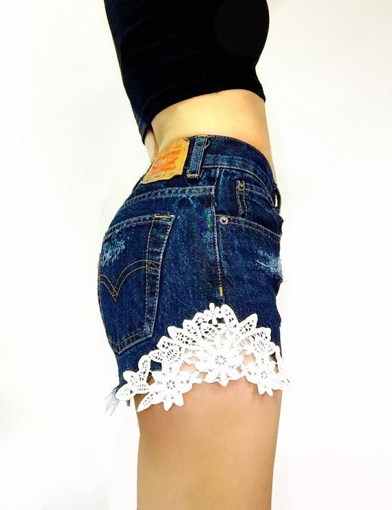 62a5dfbe Levi High Waisted Shorts with Lace Patch - Distressed - Sizes 0 2 4 6 8 10  12 14 16 18 20 Avail. | I WANT THIS ON MY BODY NOW!!!! | Levi high waisted  shorts ...