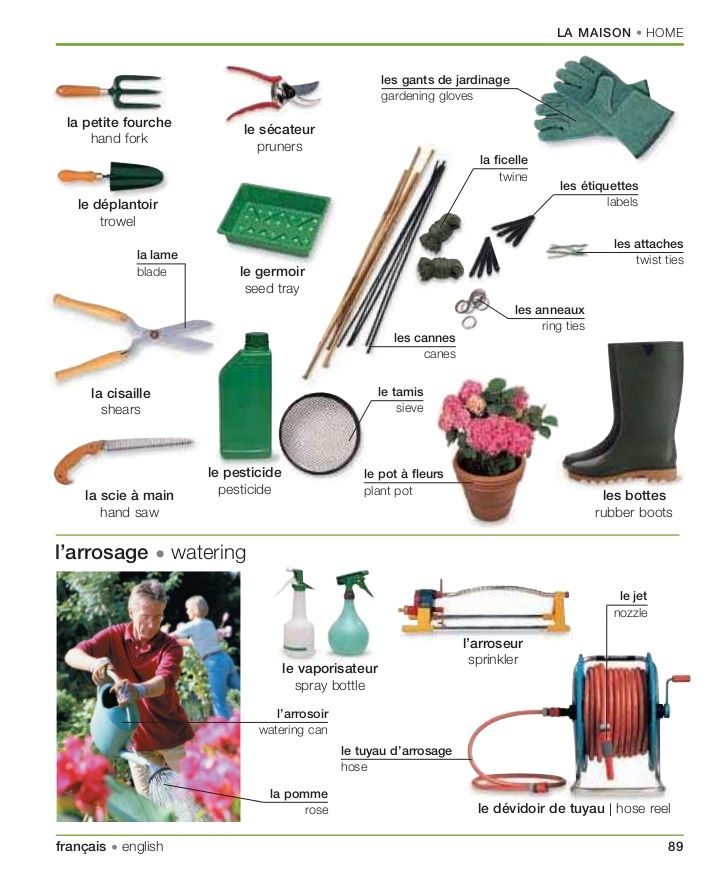 Les outils de jardin maison pinterest learning for Jardin french to english