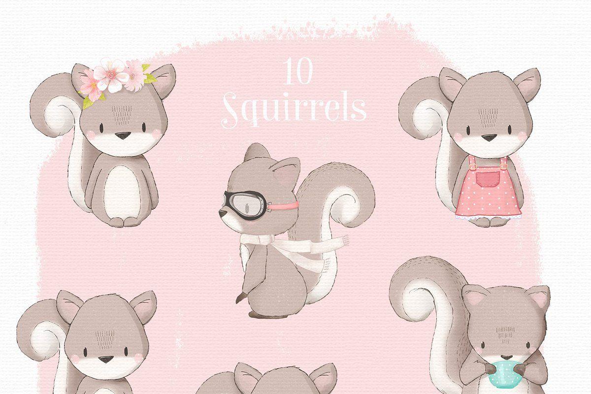 Hello Spring Woodland Animal Clipart Animal Clipart Hello Spring Wallpaper Squirrel Clipart