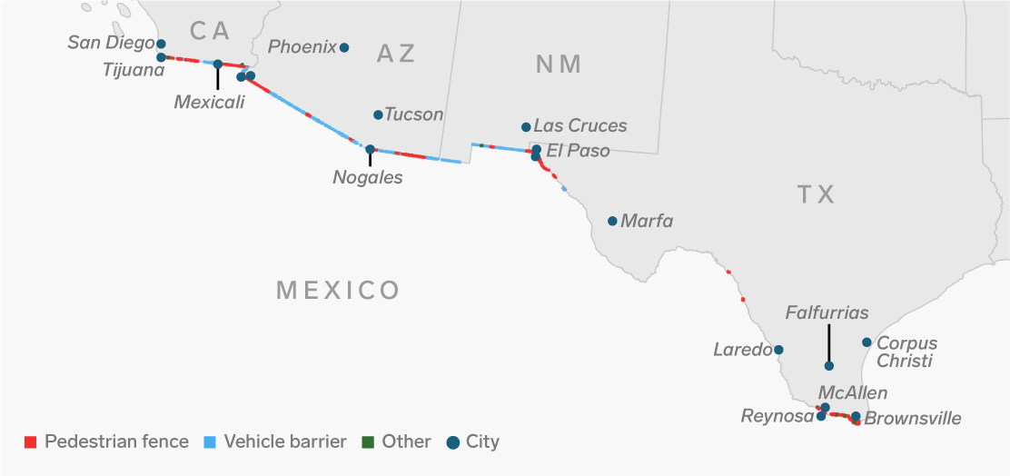 us mexico border map shows how hard it would be to build a on border wall id=79174