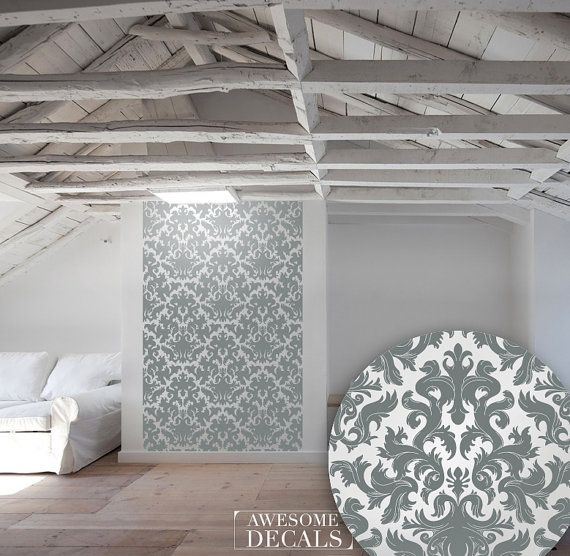 Damask Wall Sticker But Also Ceiling Love The Ceiling Damask Wall Interior Wall Design Large Wall Decals