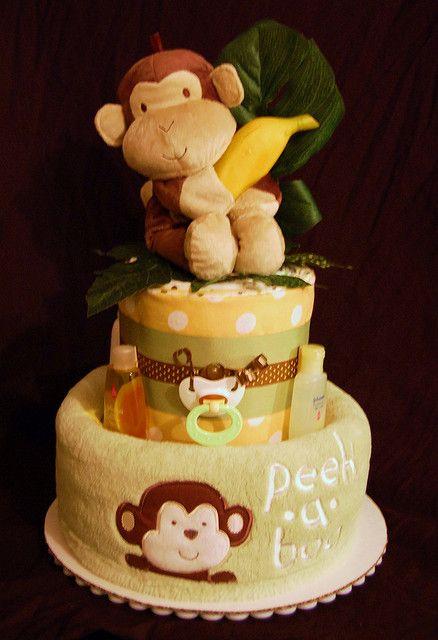 Peek A Boo Monkey Diaper Cake Baby Gifts Pinterest