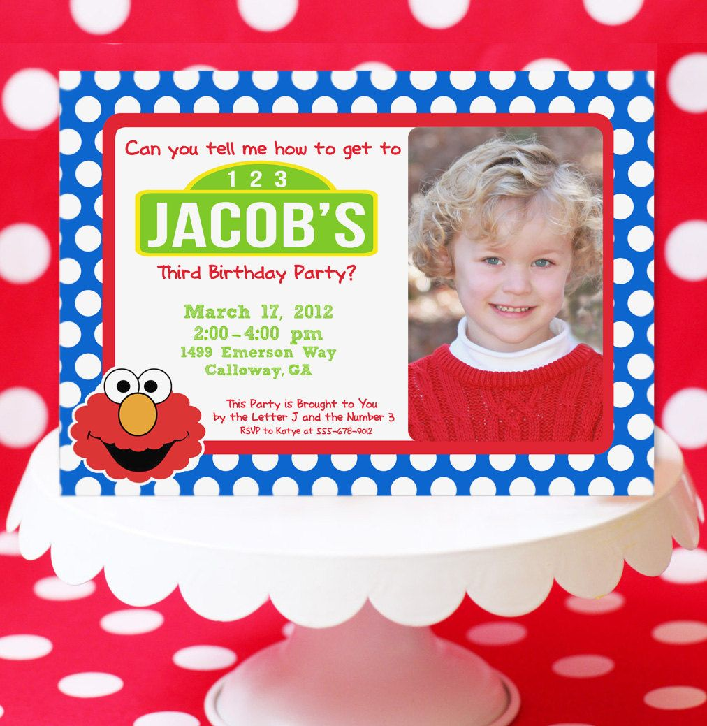 Sesame Street Invitation - Elmo - Cookie Monster - with Photo - inspired by Sesame Street - Amanda's Parties TO GO. $15.00, via Etsy.