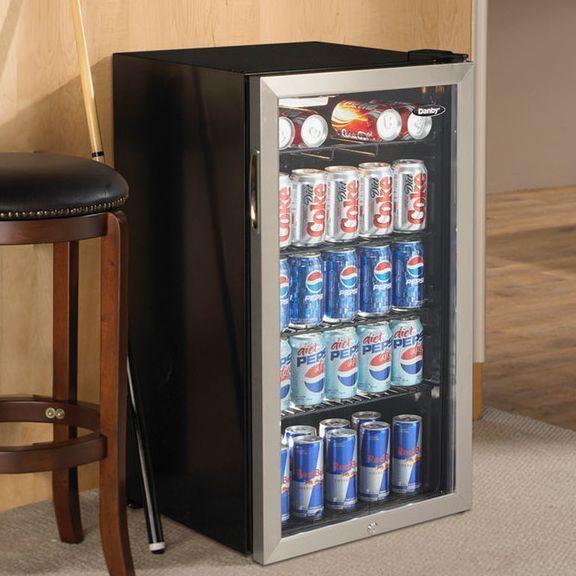 Beverage Refrigerator Cooler Compact Mini Bar Fridge Beer Soda Pop Glass  Door