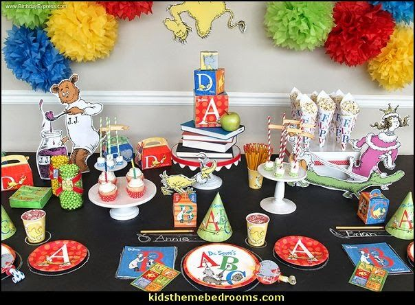 Decorating Theme Bedrooms Maries Manor Dr Seuss Party Theme Dr Seuss Birthday Party Abc Birthday Party Abc Birthday Party Ideas Dr Seuss Birthday Party