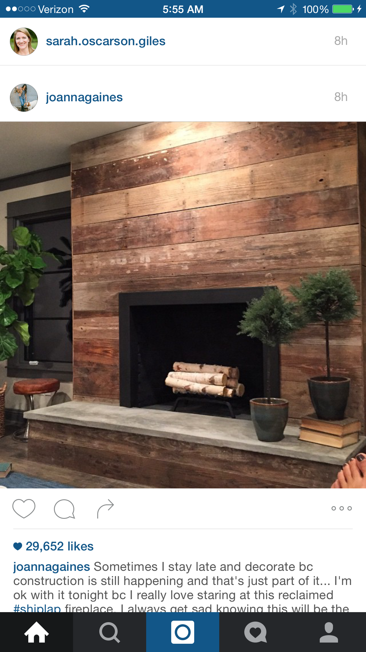 Shiplap Fireplace W Cement Or Matching Quartz From Kitchen