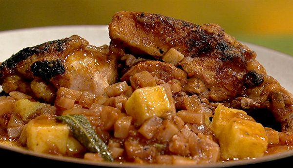 the chew | Recipe  | Mario Batali's Chicken And Polenta With Celery Root And Sage