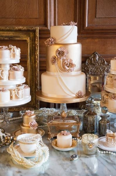 Great Gatsby Or French Wedding Cake Mini Cakes With Pearls Dessert Table