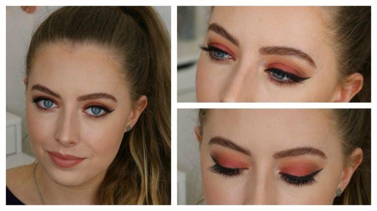 maquillage yeux bleus rose orange