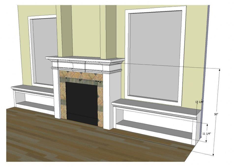 Fireplace with Windows On Each Side   ... side window ...