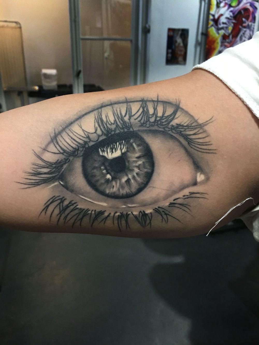 Healed eye tattoo, realistic tattoo by Ryan Foley, tattoo