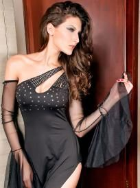 One-Shoulder Gown With Sheer Net Sleeves