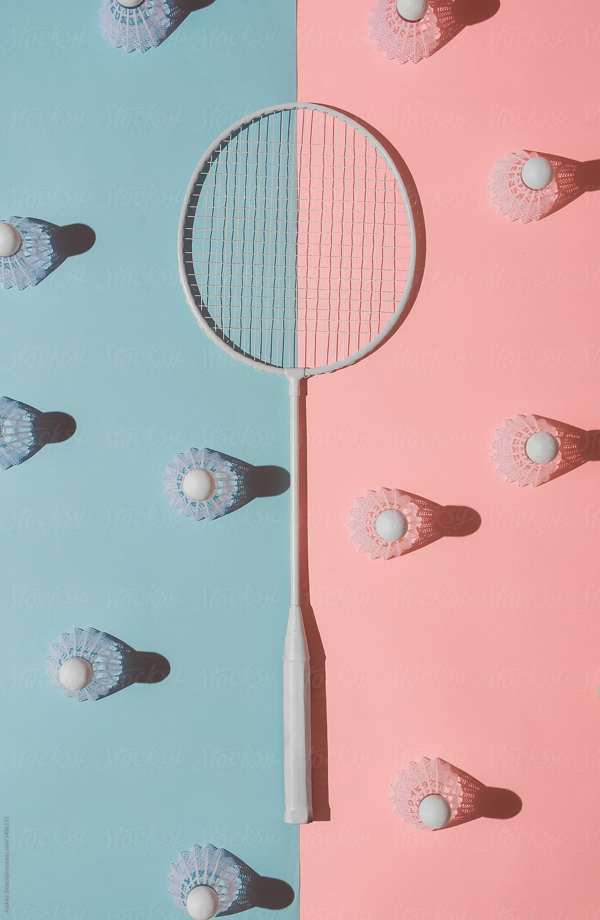 Badminton Rackets On Pink And Blue Background Stocksy United Kertas Dinding Poster Bunga Badminton