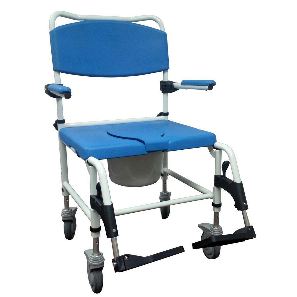 Drive Medical Aluminum Bariatric Rehab Shower Commode Chair With 2 Rear Locking Casters Nrs185008 The Home Depot Commode Chair Shower Commode Chair Shower Chair