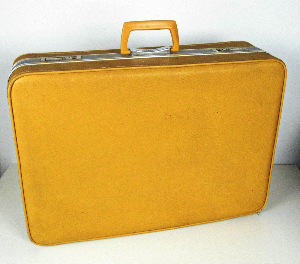 vintage large mustard yellow suitcase. $35.00, via Etsy. | Color ...