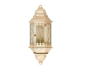 Lanterna elettrificata da parete in ferro e vetro France - 29x84x16 cm