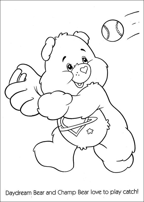 Care Bears playing baseball coloring page | Coloring Pages ...