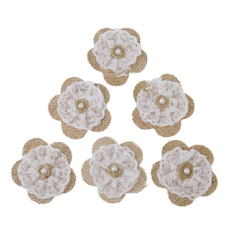 12pcs Hessian Burlap Lace Flowers Bridal Wedding Craft DIY Making Craft