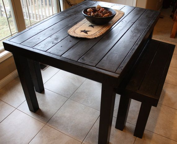 6 ft unique primtiques primitive black pub style tall kitchen dining bar table with two matching benches set custom sizes colors. beautiful ideas. Home Design Ideas