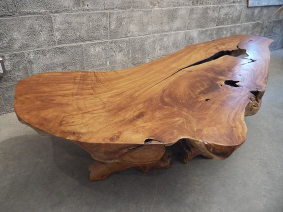 Teak Live Edge Coffee Table Coffee Table Wood Round Wood Coffee