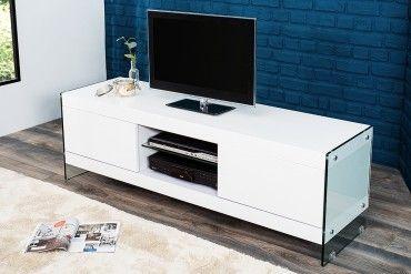 Tv lowboard led verlichting  Design Lowboard FLOATING weiß hochglanz Glas Komposition TV-Board ...