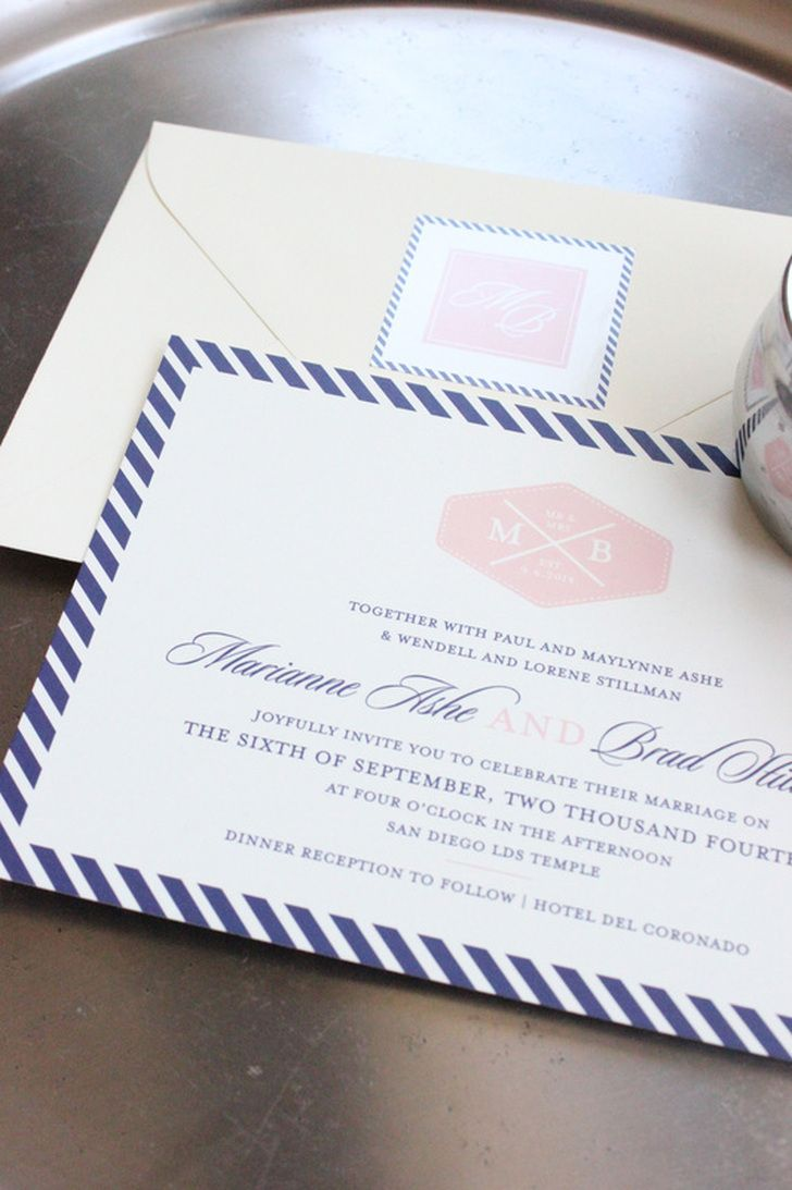 San Diegoinspired nautical stripe wedding invitations and monogram