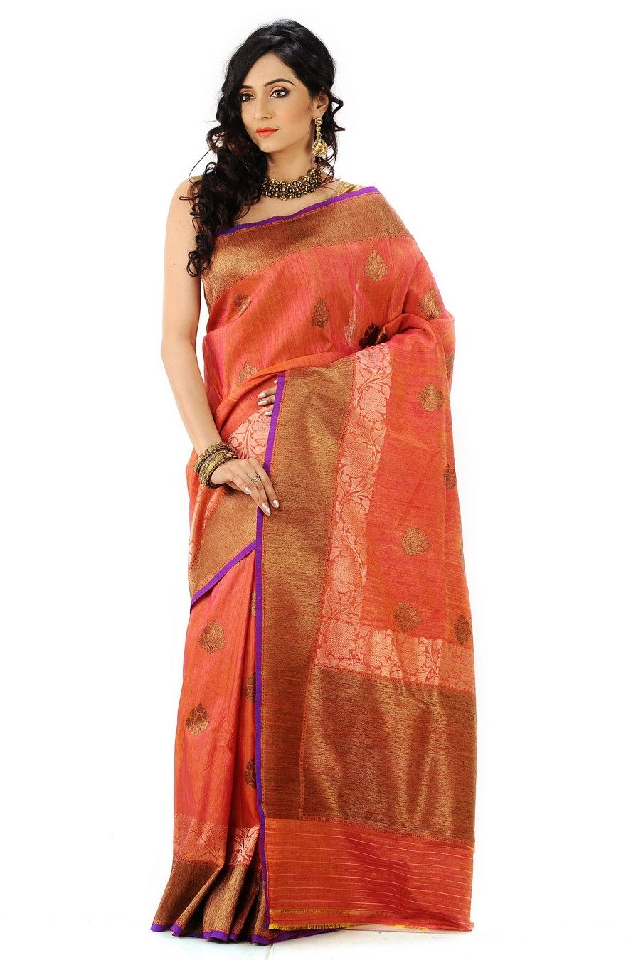 9db5dd5814adc8 Bronze border burnt orange gold jacquard saree in a combination of jute,  ghicha, tasser silks.