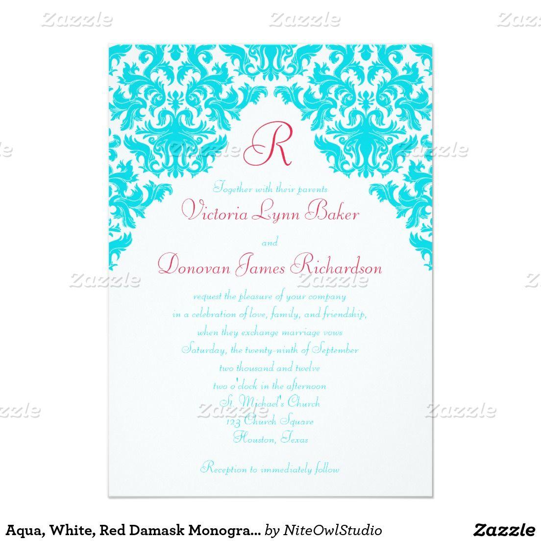 Aqua, White, Red Damask Monogrammed Invite | Damasks, Aqua and Red
