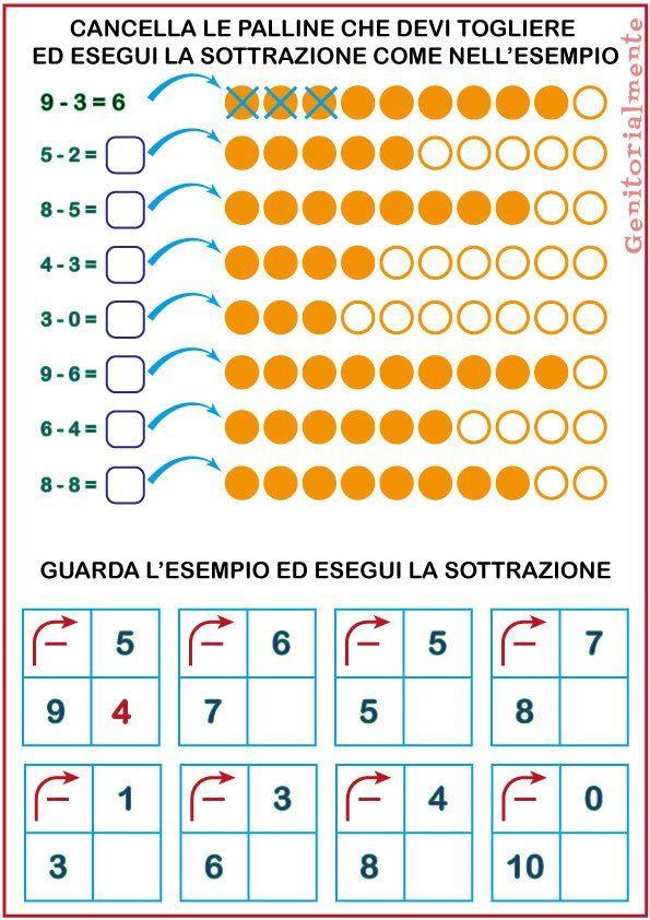 Popolare Sottrazioni di prima elementare: schede didattiche | scuola  UO28