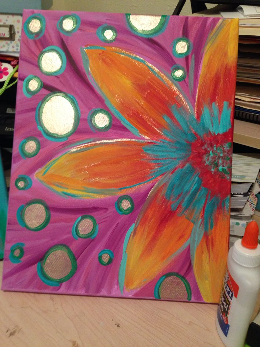 Girls room. DIY canvas painting