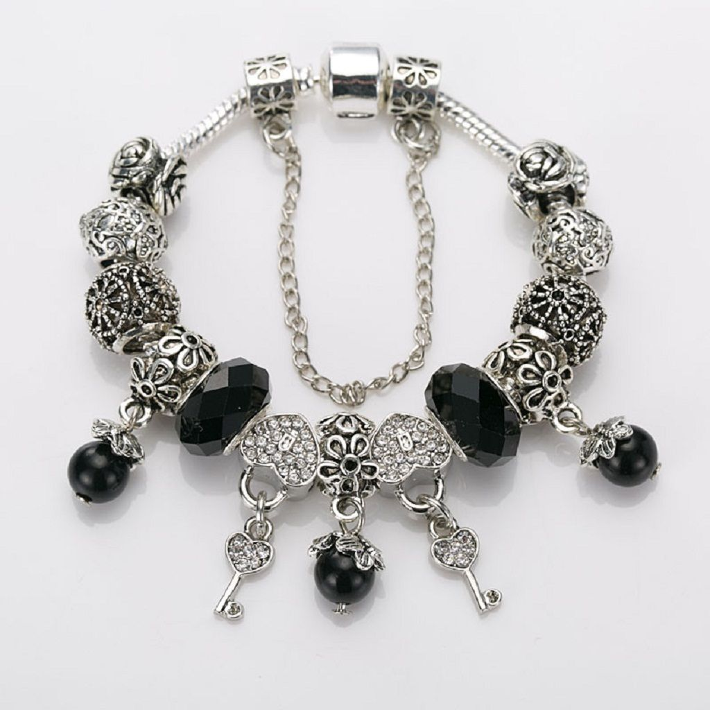 Exquisite Black and Silver Murano Glass Charm Bracelet 20% Off! www.shebastrove.com