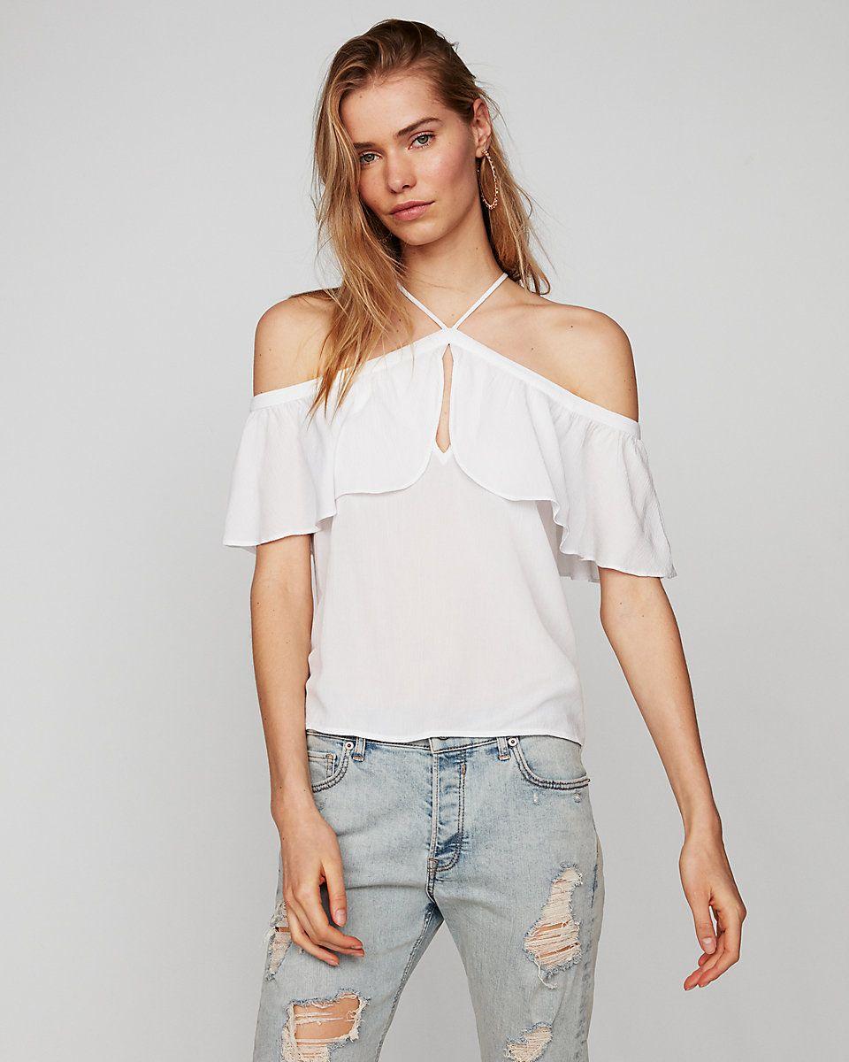 0147d213c76 Off The Shoulder Halter Top | Express | clothing | Shoulder, Tops ...