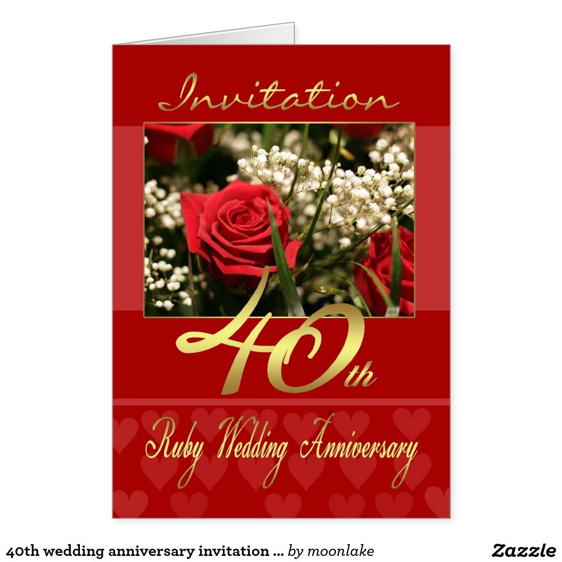40th wedding anniversary invitation card - ruby we | Wedding ...