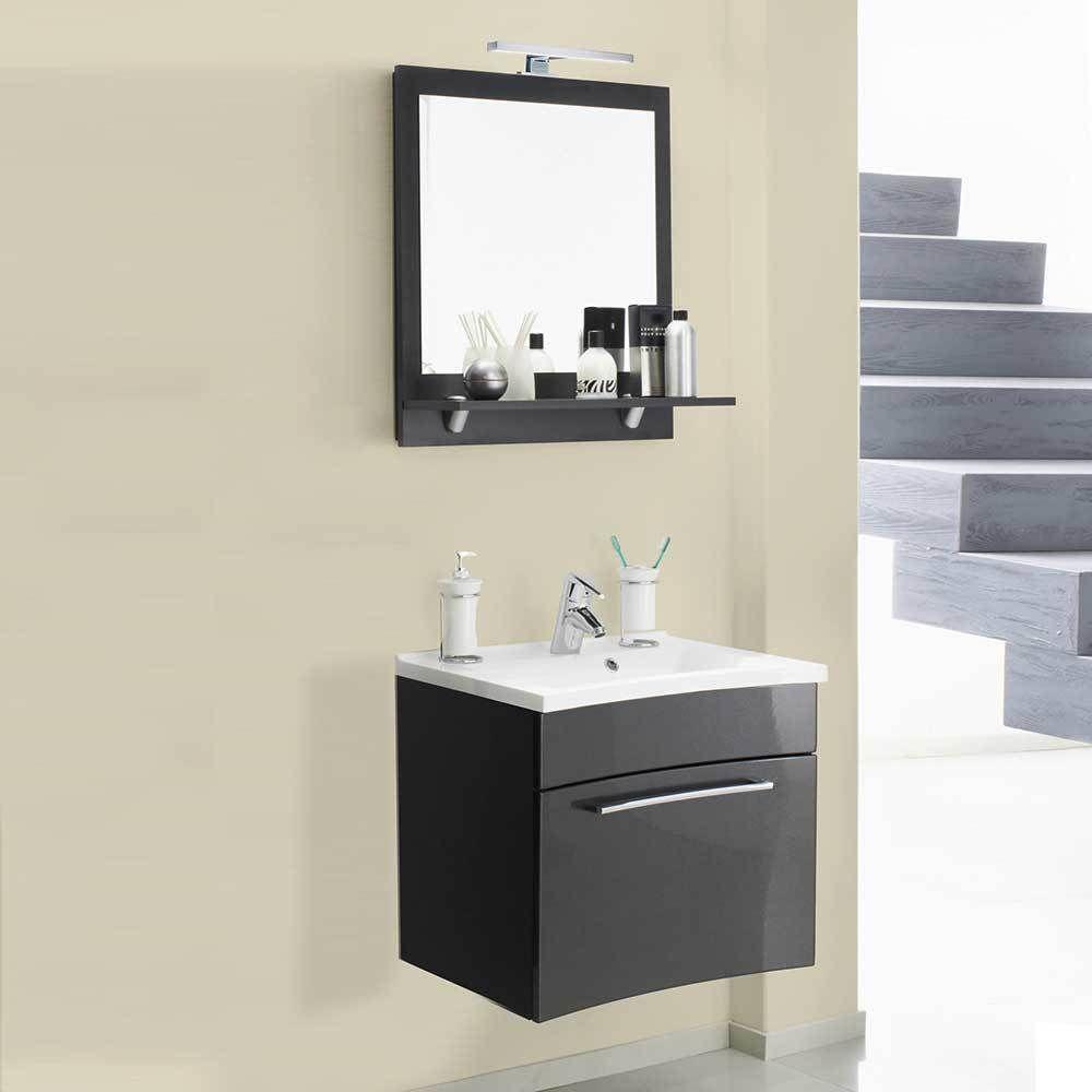 Design Badmöbel in Anthrazit Hochglanz 3D Spiegelschrank (2-teilig ...
