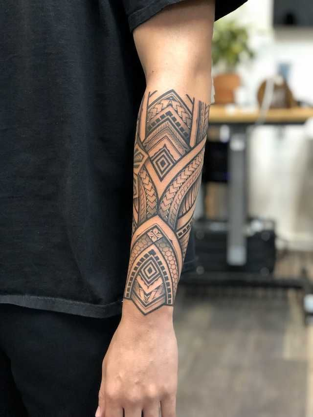 Polynesian/Filipino Forearm Sleeve by Kiwi.Burt at Hideout Tattoo, Las Vegas Nevada