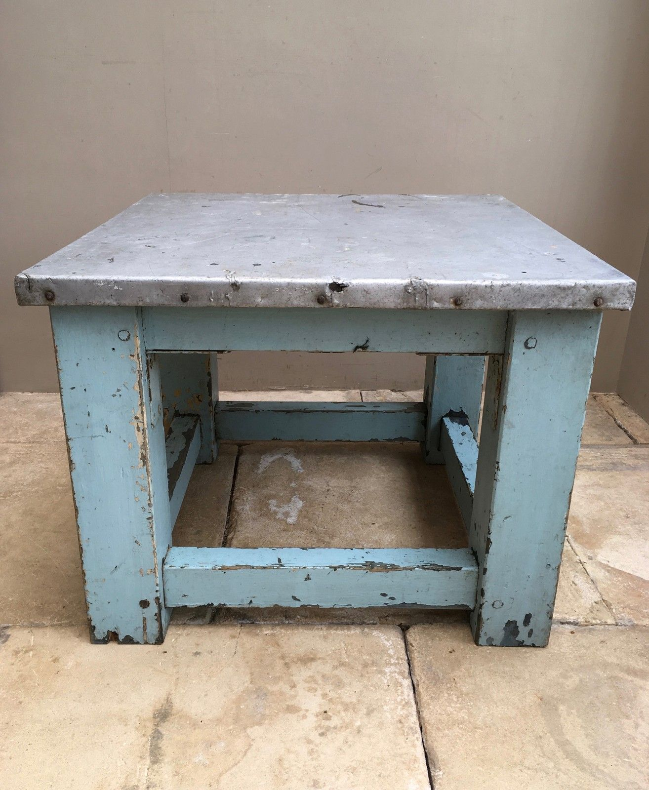 Mid Century Pine Zinc Top Coffee Table the antique kitchen