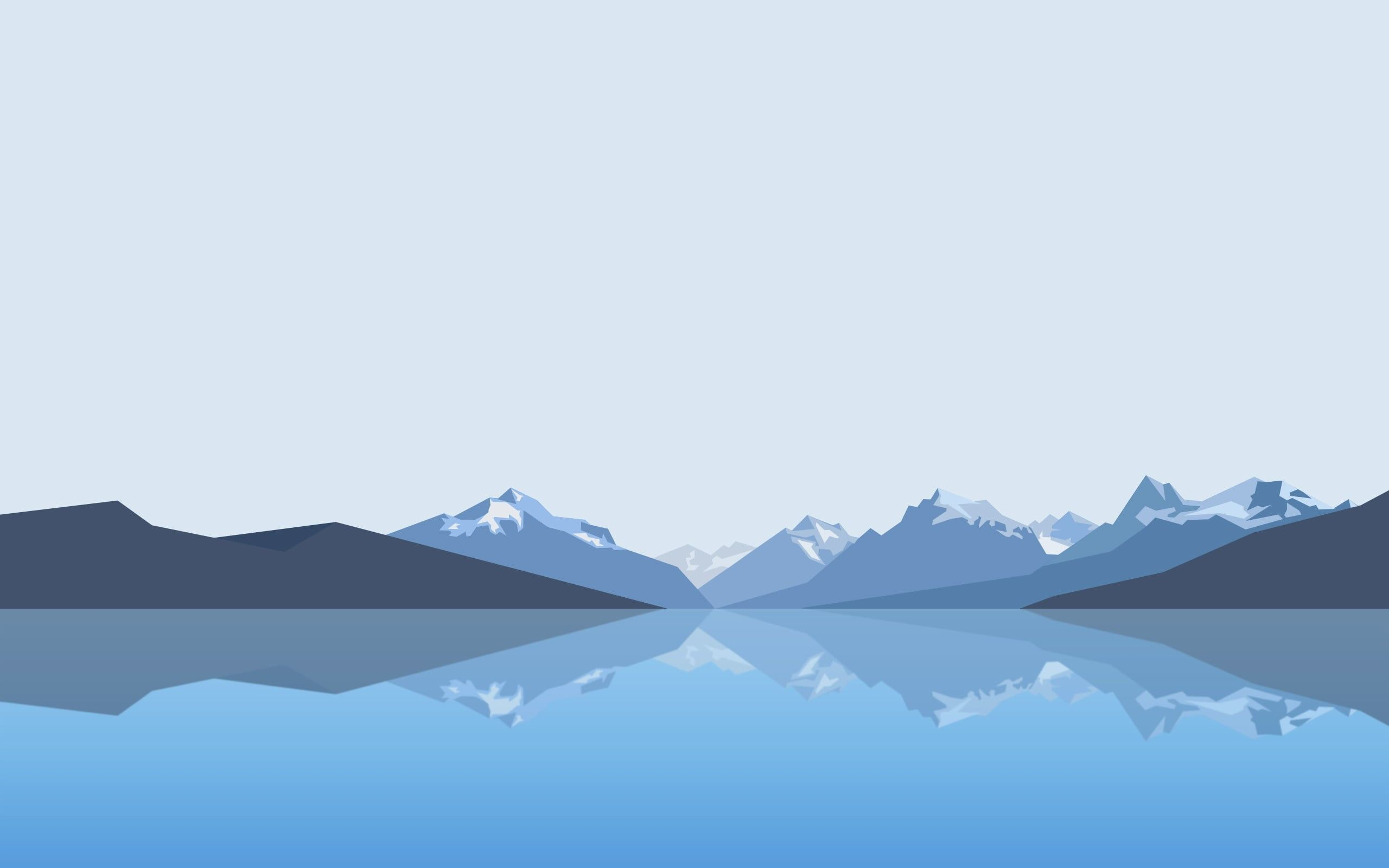 Blue And Gray Mountain Wallpaper Minimalism Landscape Mountains