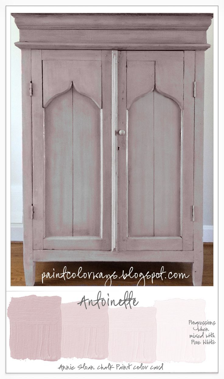 Annie Sloan Chalk Paint colors are easily mixed with Pure White to form tints. On this cabinet, various tints of Antoinette are layered over a first coat of Pure White to create depth and texture.