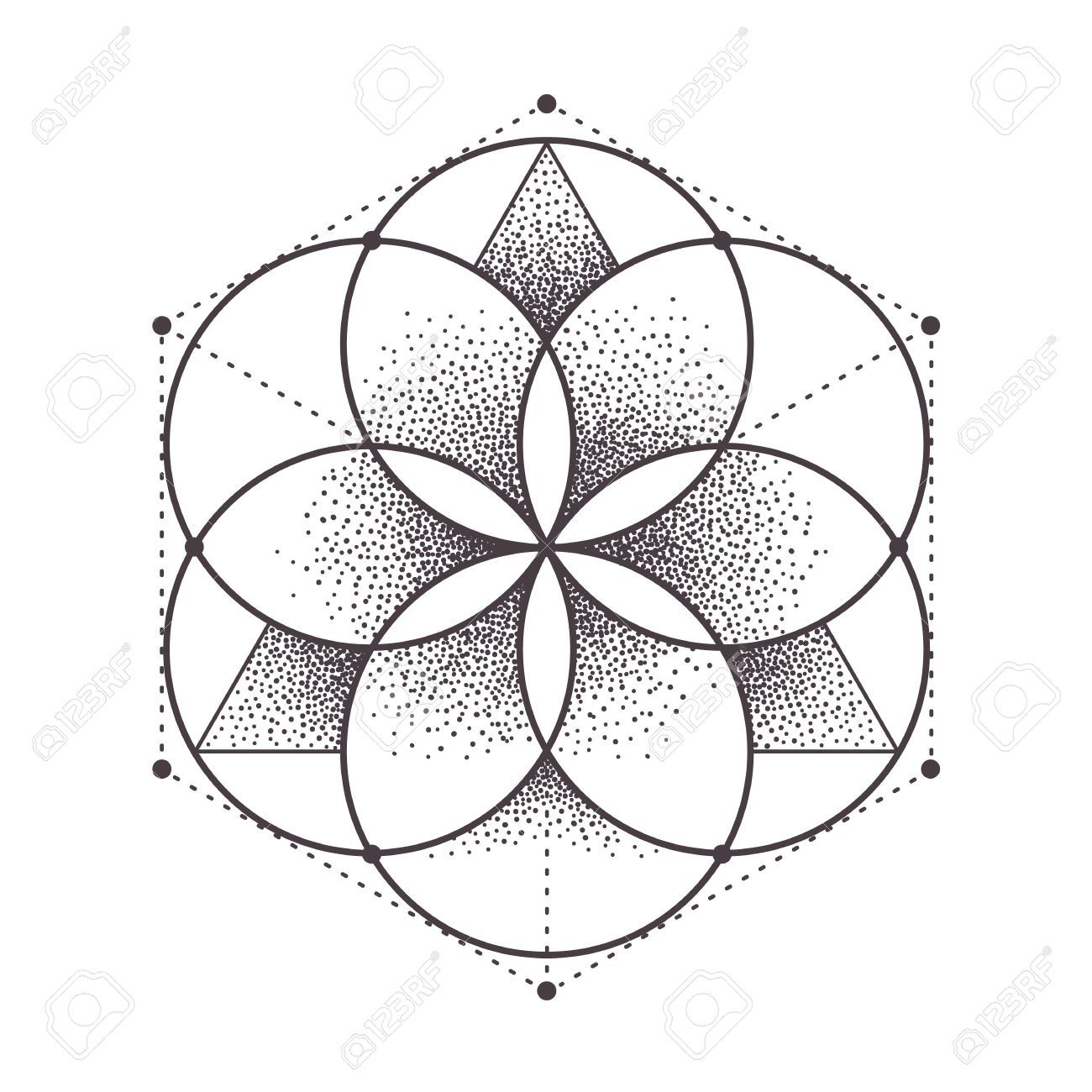 Abstract Sacred Geometry Geometric Symmetric Pattern Isolated On White Dotwork Style Vector In 2020 Sacred Geometry Tattoo Sacred Geometry Patterns Geometric Drawing