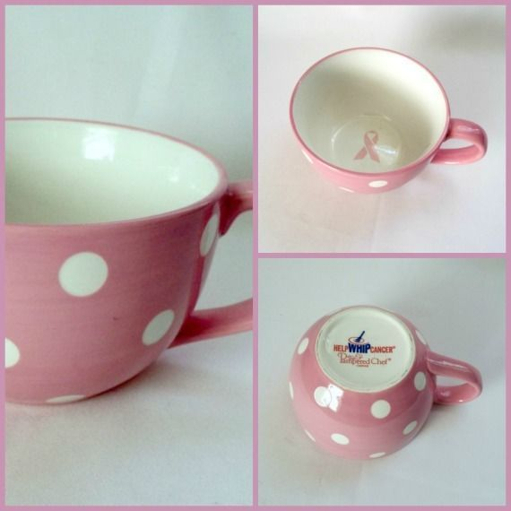 Pampered Chef Help Whip Cancer Coffee Mug Pink Ribbon Polka Dot  Large Cup 16 oz #ThePamperedChef