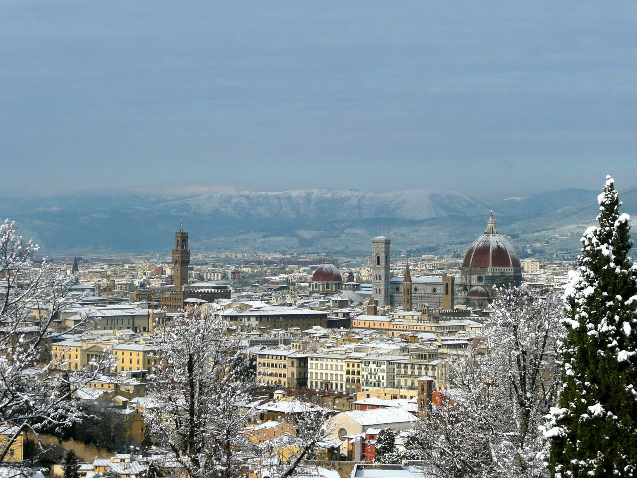 italy florence italy winter landscape snow italy florence