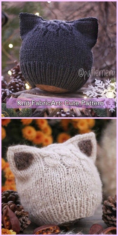 Knit Fox Ears Cat Ears Beanie Hat Knitting Pattern  24d7b3c2e3b4