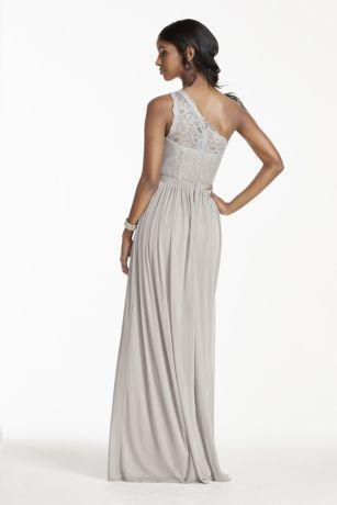one shoulder metallic lace and mesh dress illusion one